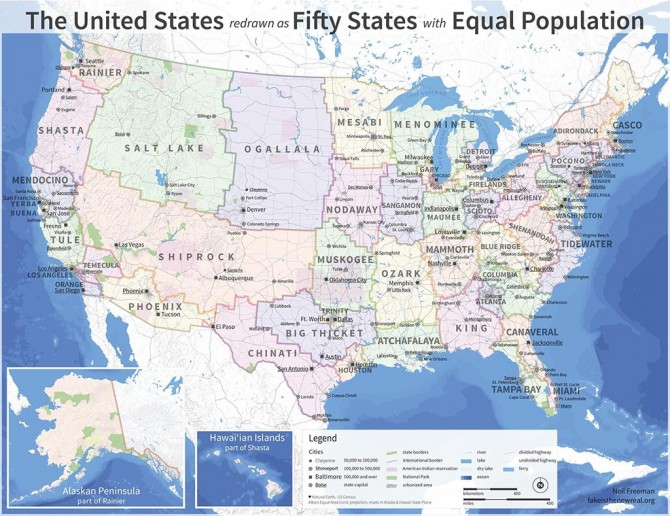 Us Map Redrawn Equal Population See the U.S. map redrawn as 50 states with equal population